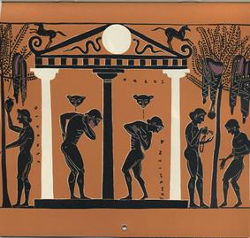 VRIES-GUIKING, J.M. DE. - Spel en leven in de klassieke oudheid. [kalender 1961].